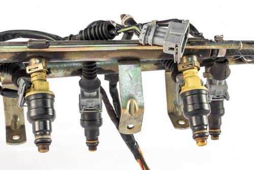 closeup of car injection system