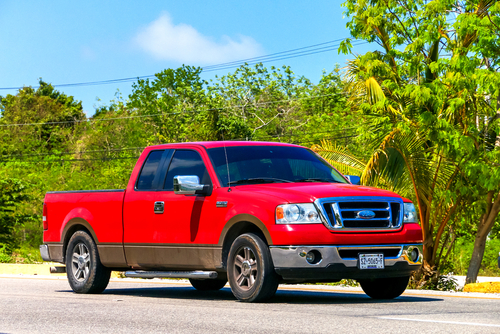 Red pickup truck Ford Lobo