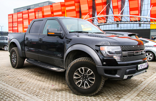 black ford f150 parked